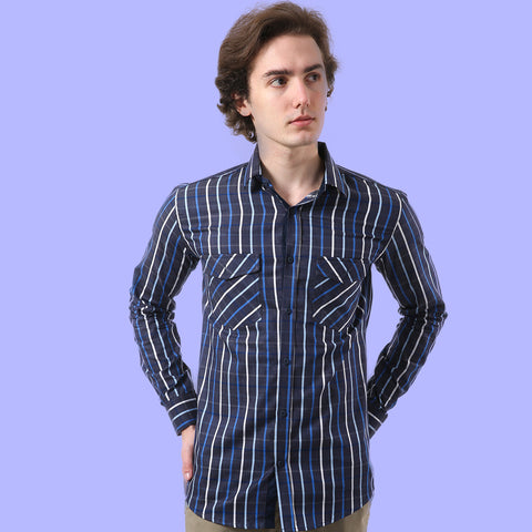 Men Navy Blue Tailored Fit Striped Casual Shirt