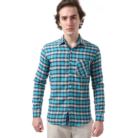 Green & Grey Regular Fit Checked Smart Casual Shirt