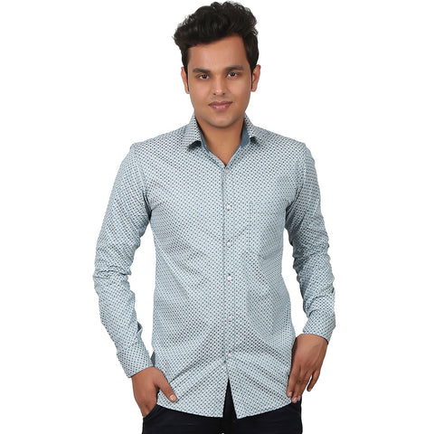Blue Small Printed Casual Shirt