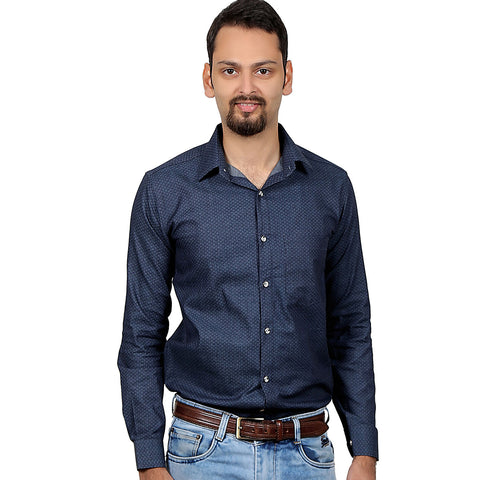 Navy Blue Regular Fit Printed Casual Shirt