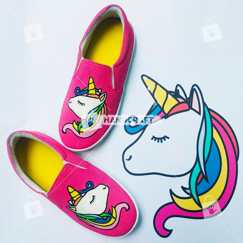 unicorn shoes, shoes for women, pink colour shoes, beautiful shoes, printed shoes, hand printed shoes