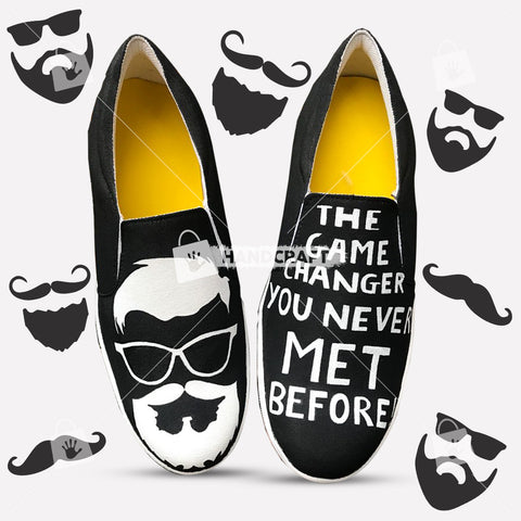 hand print shoes, shoes for men, black colour shoes, printed shoes