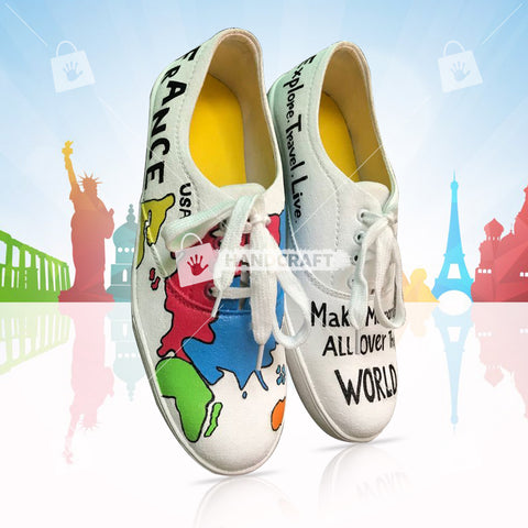 map print shoes, shoes for men, hand printed shoes, printed shoes, red colour shoes