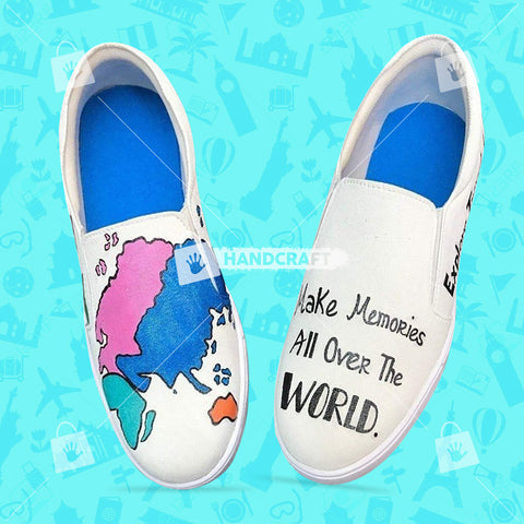 map print shoes, shoes for men, hand printed shoes, printed shoes, blue colour shoes