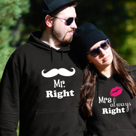Mr Right & Mrs Always Right Couple Hoodie