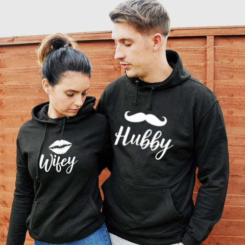Casual Couple Wifey Hubby Hoodie