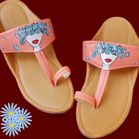 Floral girl Kolhapuri chappal in Peach