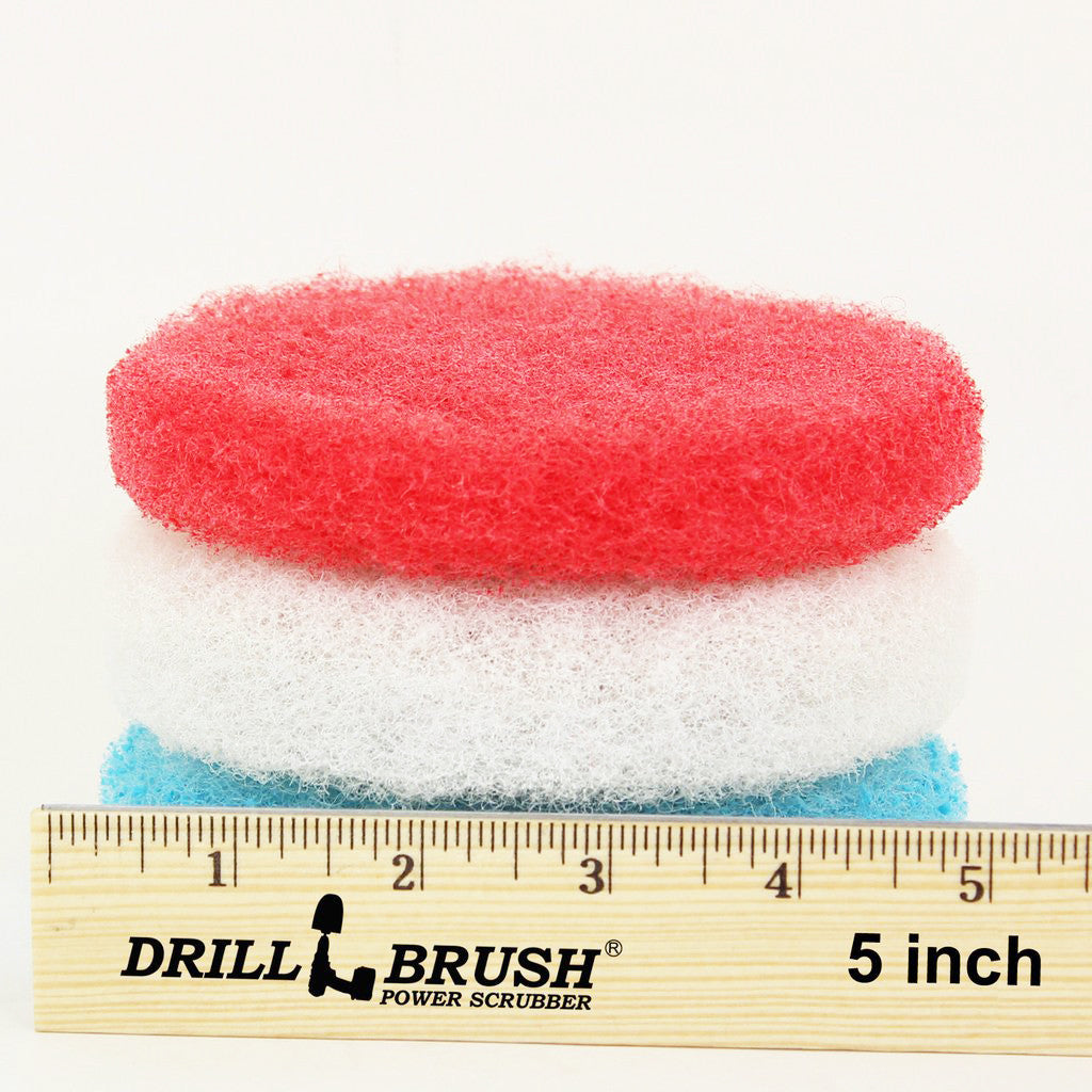 5 inch Red, White, and Blue Replacement Scrub Pad Refills (part number Refills-5in-Red-Wh-Blu)