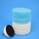 3 inch Round Scouring Pads Electric Scrubber Kit (part number 3in-pads-2in-driver-blue-wh)