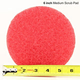 6 inch Diameter Red Medium Scrub Pad