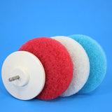 Bathroom Cleaning Power Scrubber Scouring Pad Kit (part number 5inch-rd-wh-blu-4in-Velcro-bcker)