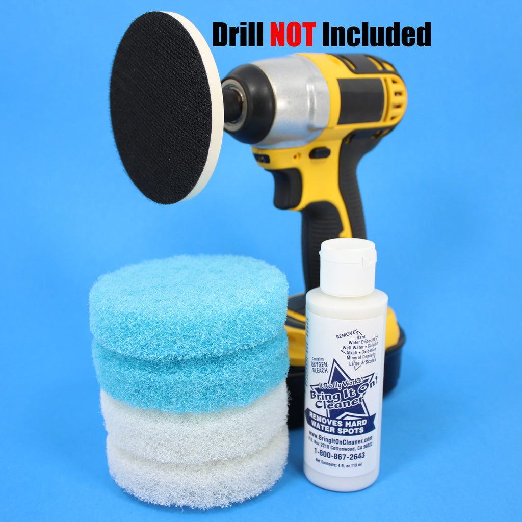 4inch Blue and White Scrub Pads with Driver and Bring it On Cleaner