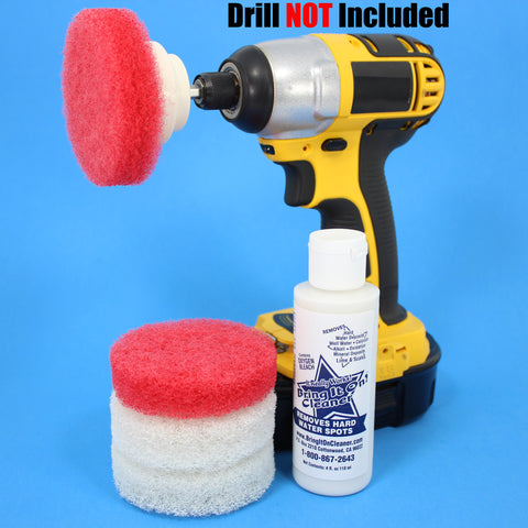 3inch Red and White Scrub Pads with Driver and Bring it On Cleaner