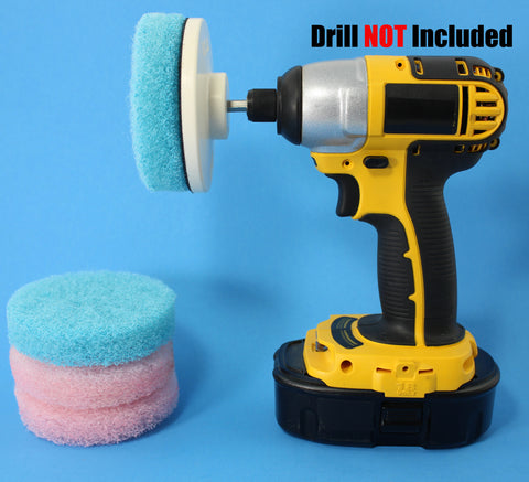 Power Driven Scrub Pads for bathroom Soap Scum, Hard Water Stains, Mineral and Rust Deposits
