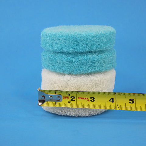 4 inch Blue and White Replacement Scrub Pad Refills (part number Refills-4in-Blu-Wh)