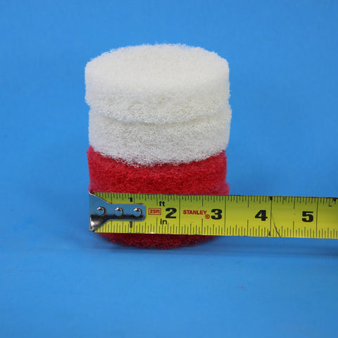 3 inch Red and White Replacement Scrub Pad Refills (part number Refills-3in-Red-Wh)