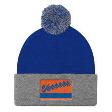 "Load image into Gallery viewer, Pom Pom ""Yerrrrr"" Metro Knit Cap (Knicks flavor)"