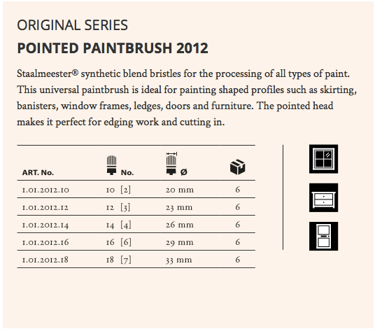 Staalmeester Pointed Sash Paint Brush - Series 2012