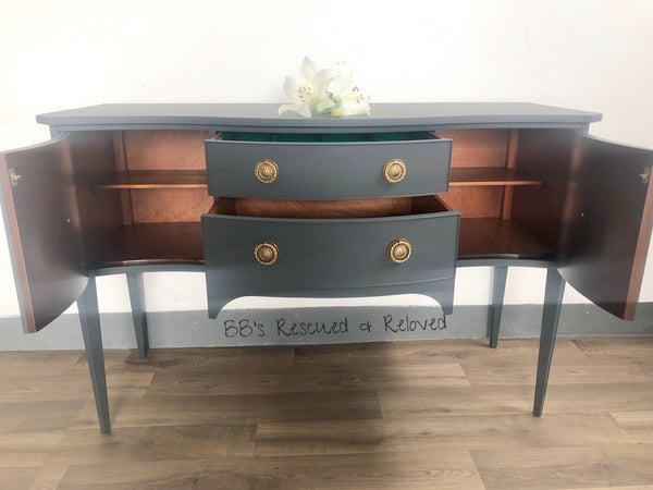 Charcoal Grey Serpentine Sideboard