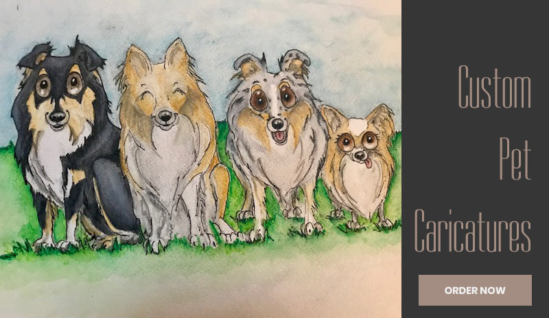 Pet caricatures, Minna Kangas, Waggish Designs, Custom Pet Drawings, Custom Pet Art, Custom Pet Caricatures