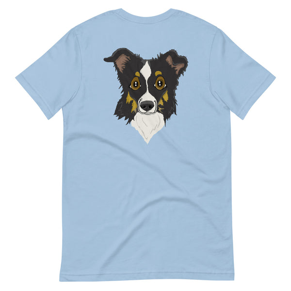 Black Tri Border Collie Face Short-Sleeve Unisex T-Shirt