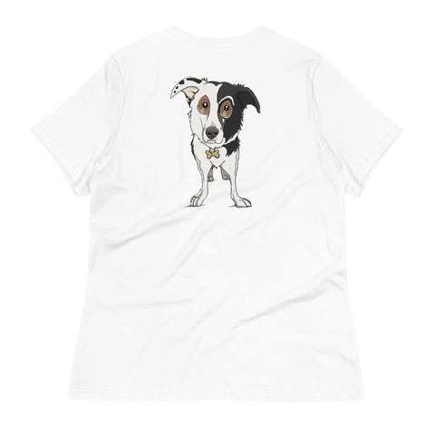 Split Face Border Collie Women's Relaxed T-Shirt