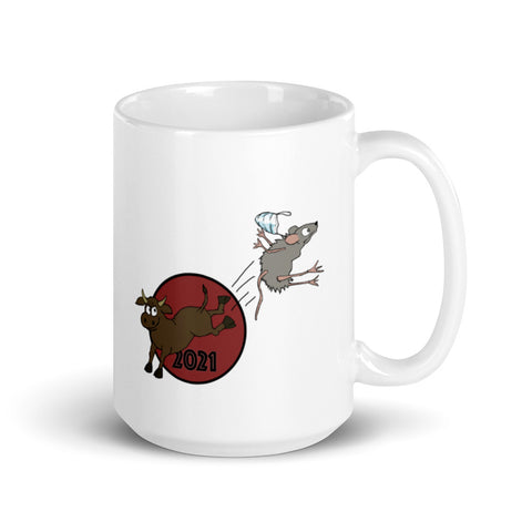 Hello 2021 Year of the Ox! Bye-bye 2020 Year of the Rat! Mug