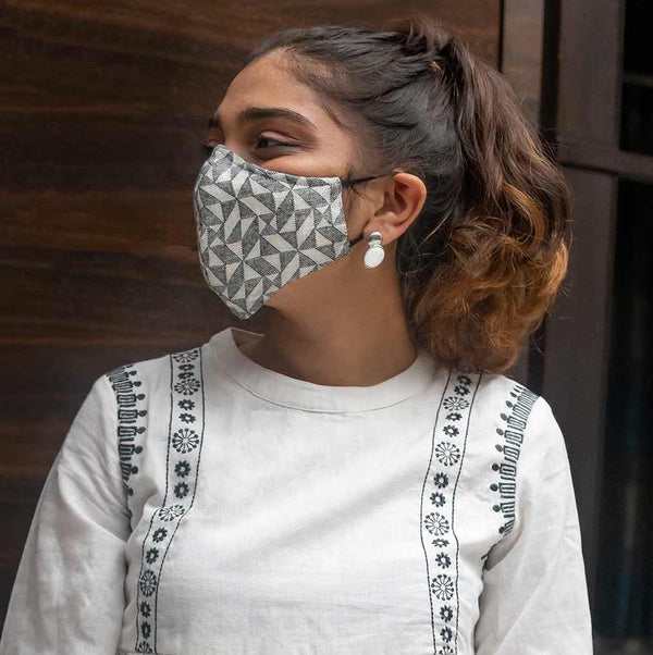 Woven soft cotton geometric mask available on mesmerize India. Made in india. Go vocal for local