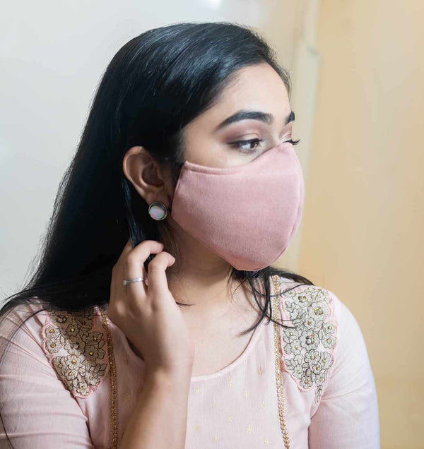 Blush pink face mask available on mesmerize India. Made in India. Go vocal for local