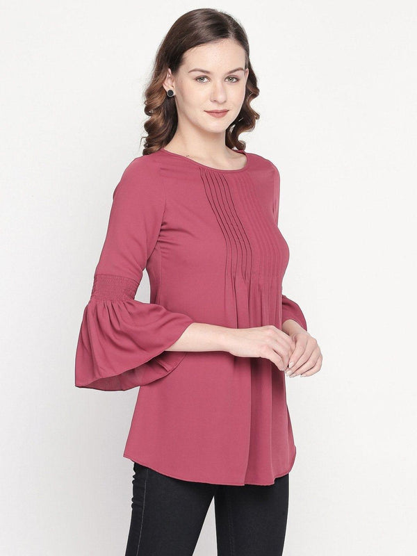 Solid Pink Tunic with Front Pin Tucks
