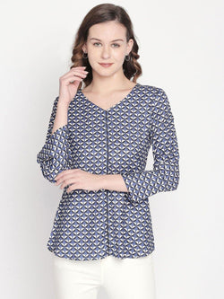 Geometric top with button detail