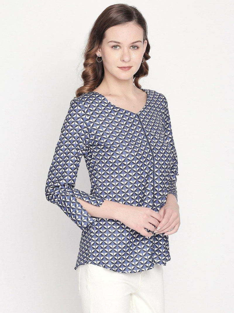 Blue Geometric Top with Slit Sleeve - Mesmerize India
