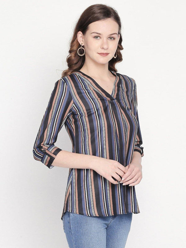 striped top with wide v neck - western wear fashion by mesmerize india