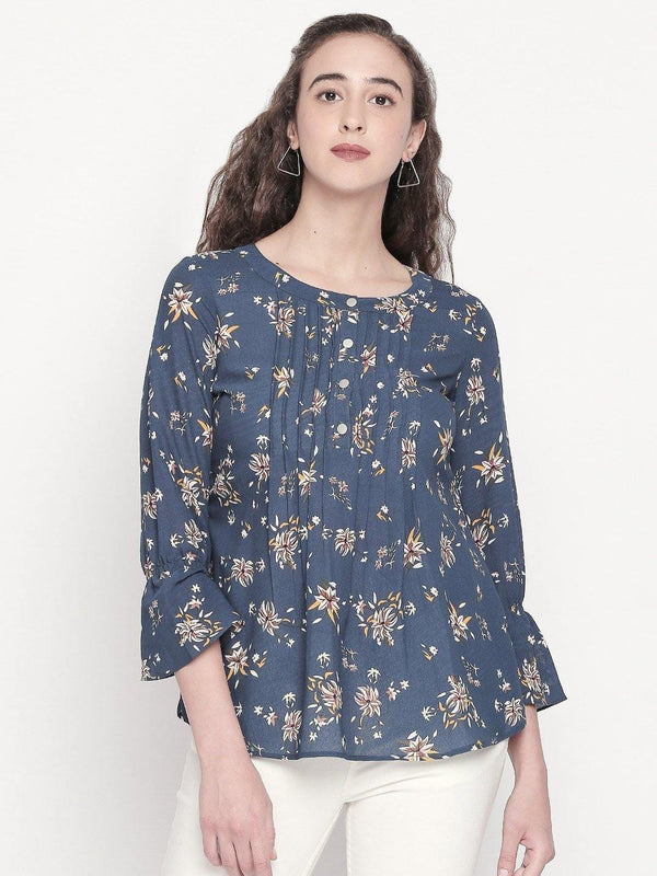 floral top with front tucks detailing - western wear fashion by mesmerize india