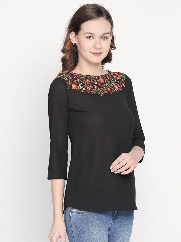 solid top with embroidered yoke - western wear fashion by mesmerize india