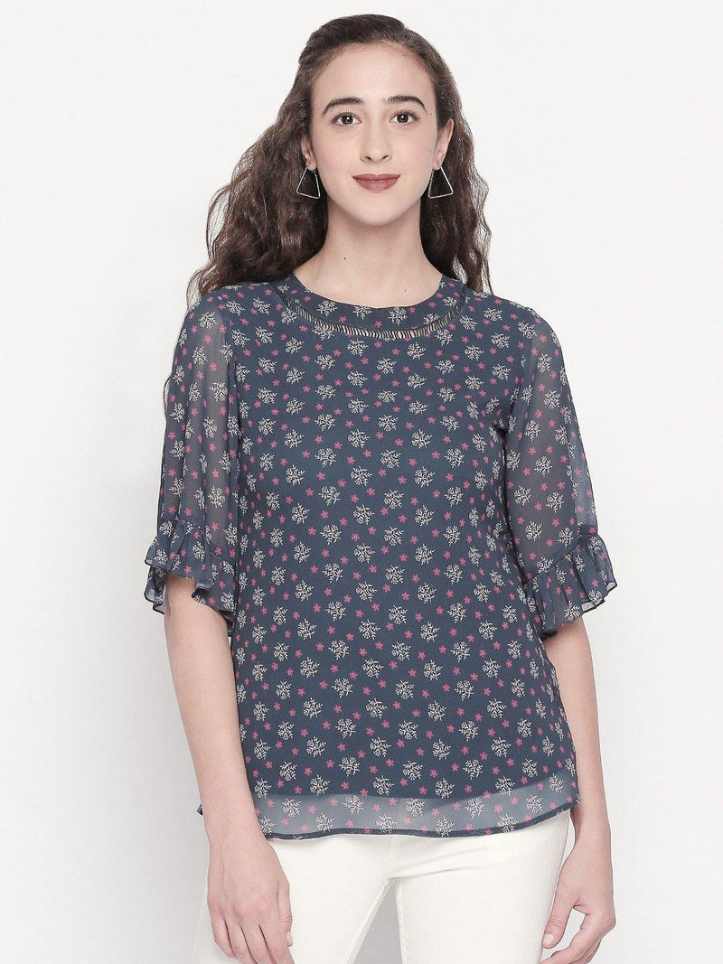 floral printed top with ruffle sleeves  - western wear fashion by mesmerize india