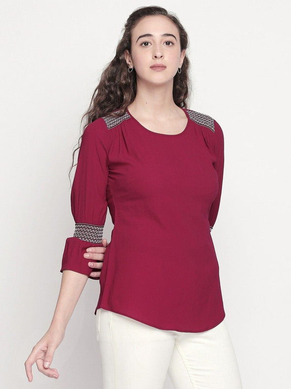 Solid Maroon Top with Smocked Sleeve