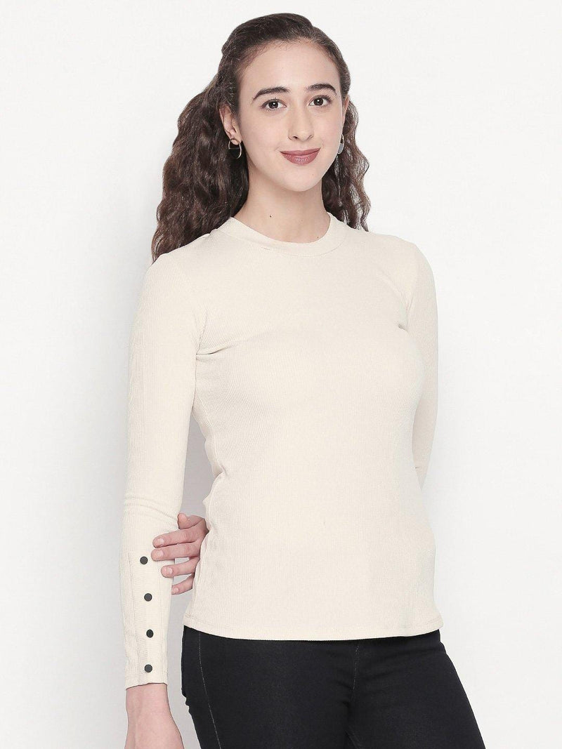 Cream Solid Top with Button Detail - Mesmerize India