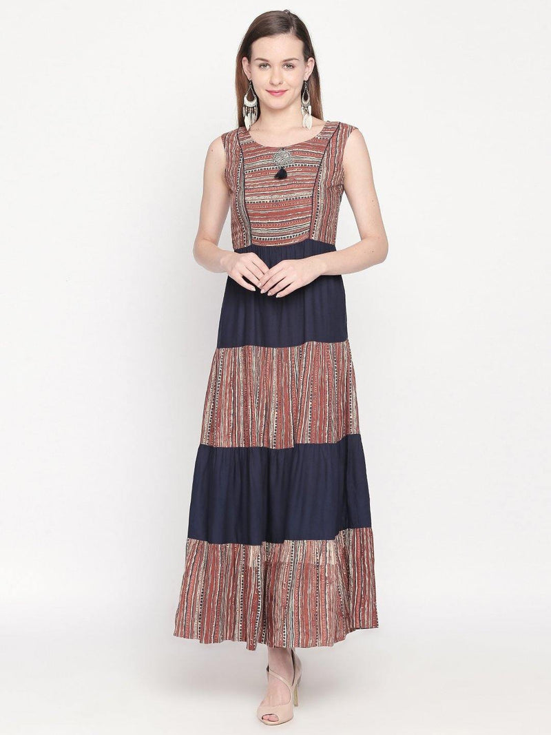 Navy,Colour_Blue Tiered - Apparel by mesmerize india