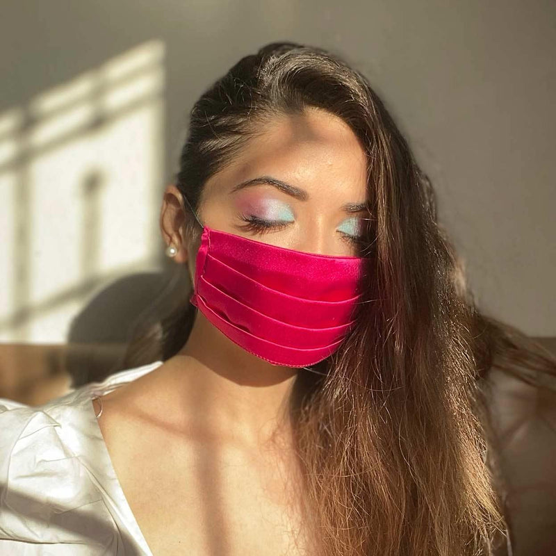 Hot Pink satin pleated mask only available on mesmerize India. Made in india with love. Go vocal for local
