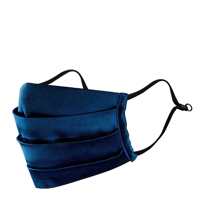 Satin Navy smooth silky pleated mask available on mesmerize India. Made in India with love. Go vocal for local