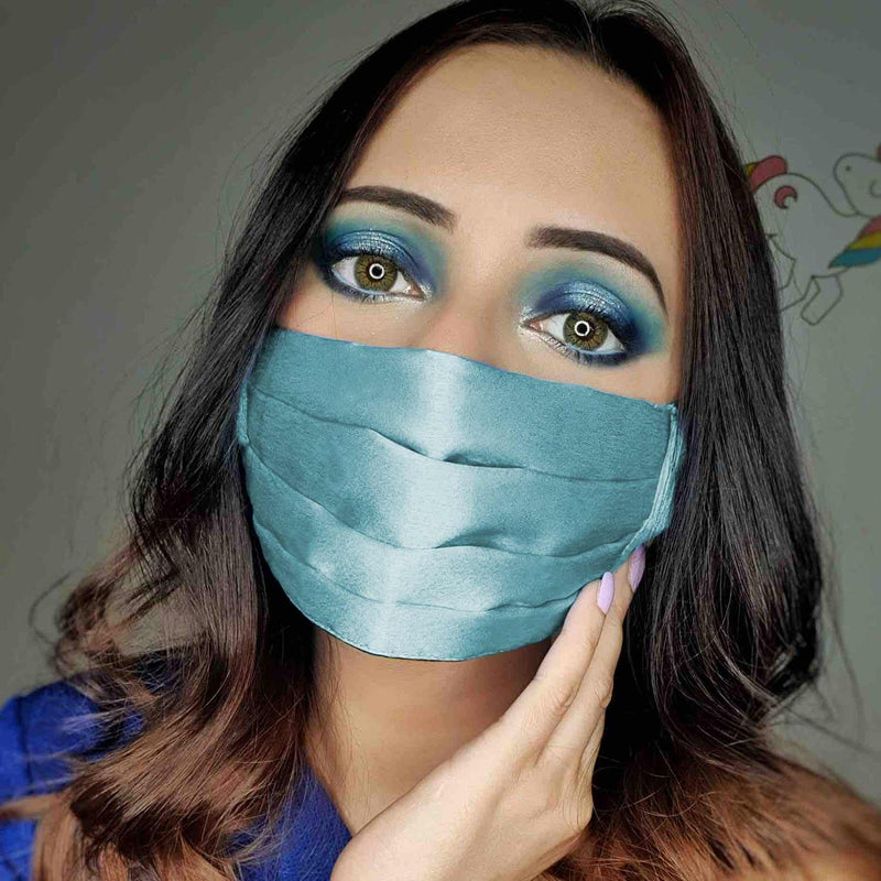 Ice Blue Satin mask available on mesmerize India. Made in India with love. Go vocal for local