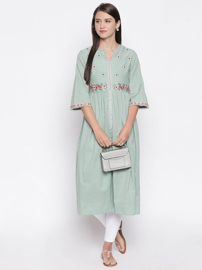 Pastel Green Cotton Blend Front Slit Kurta - Mesmerize India
