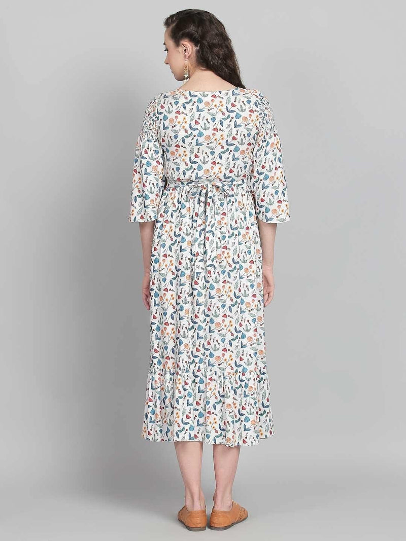 Floral Midi Dress With Smoked Front