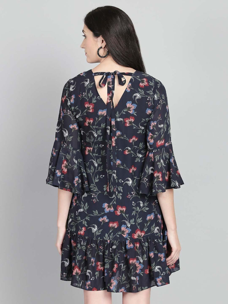 Floral Dress With Ruffled Hem