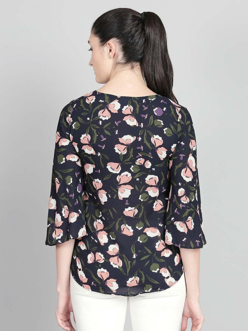 Navy Floral Top With Flared Sleeves