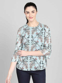 Floral top with bell sleeve