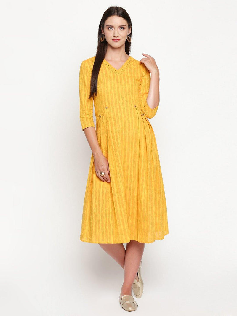 Yellow Cotton Pleated Kurta - Mesmerize India