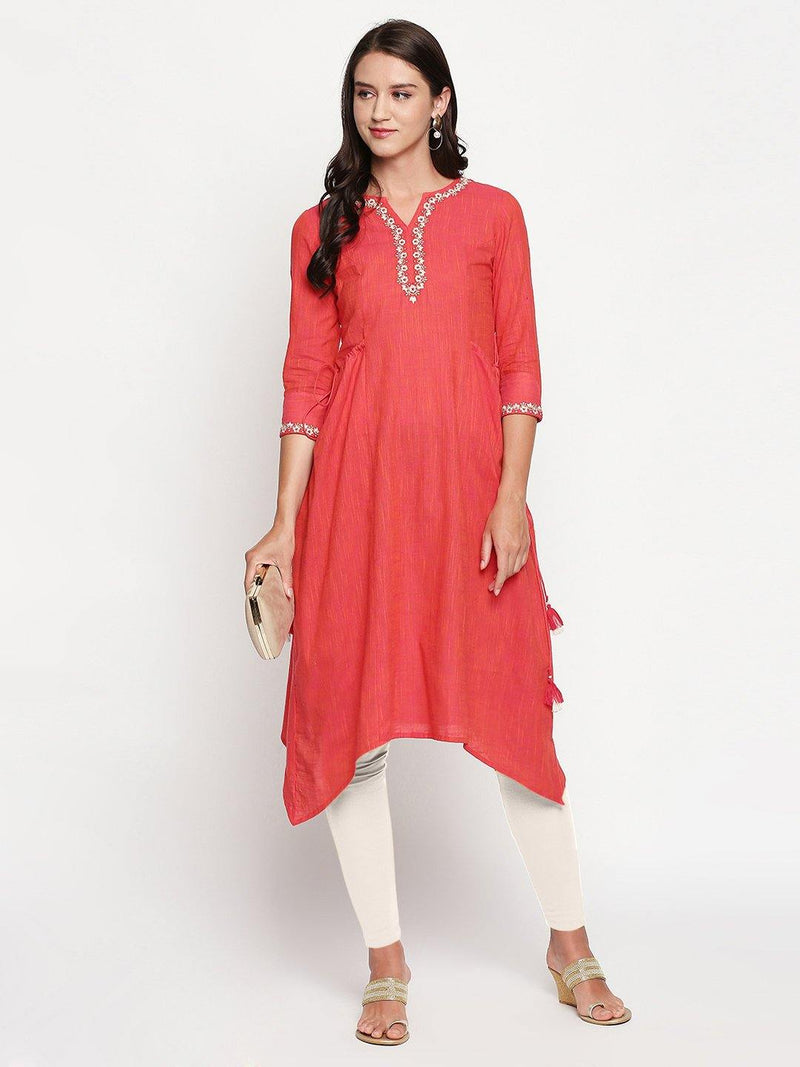 Vermilion Red Cotton Straight Kurta with Tie-Ups - Mesmerize India