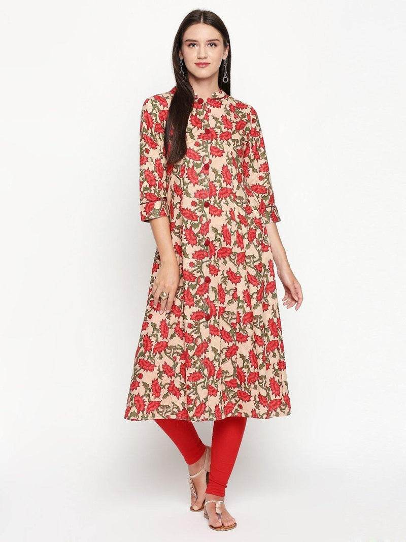 Red Printed Cotton A-Line Kurta - Mesmerize India